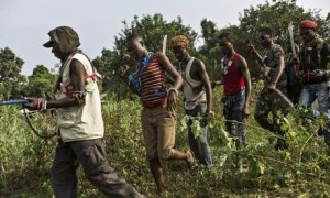 Members of the anti-balaka militia train in the Boeing neighbourhood of Bangui. Photograph: Fred Dufour/AFP/Getty Images