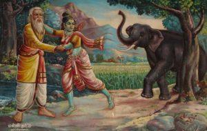 வேலனார்-வள்ளி - தினைப்புனத்தில் யானை